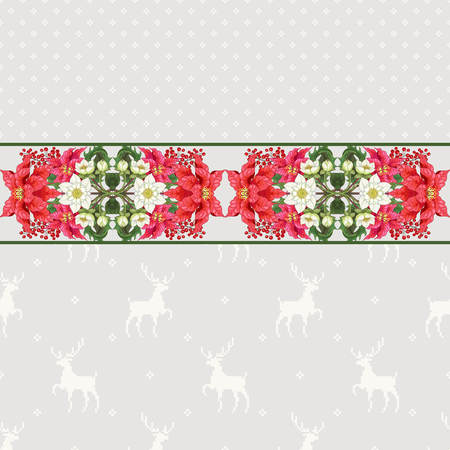 Vector seamless background with floral pattern. Border of poinsettia and hellebore flowers, holly. Scandinavian pattern with deers. Christmas collection.