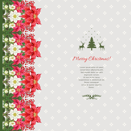 Vector card with floral border. Poinsettia flowers, holly and hellebore flowers. Scandinavian ornament on backdrop. Christmas collection. Place for your text. Ilustrace