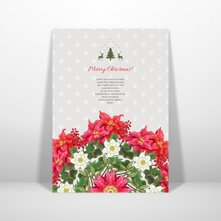 Vector card wirh round floral pattern. Holly, poinsettia and hellebore flowers. Norwegian ornament on backdrop. Christmas collection. Place for your text. Realistic shadow. Illustration