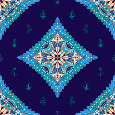 Vector seamless dark background with square floral pattern on ethnic backdrop. Vetores