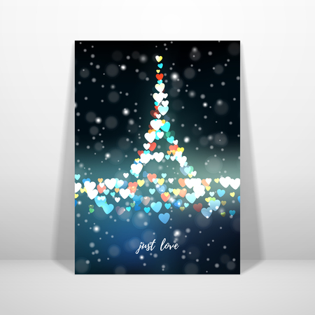 Vector card. Blurred lights on dark background. Bokeh effect. Hearts in the form of the Eiffel Tower. Valentine's Day or wedding. Inscription Just love. Place for your text. Reklamní fotografie - 123381321