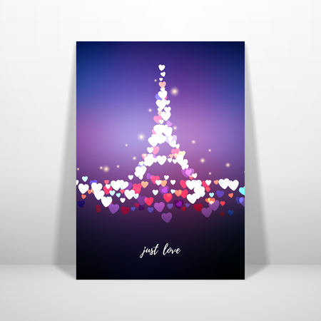 Vector card. Blurred lights on purple background with bokeh effect. Hearts in the form of the Eiffel Tower. Valentine's Day or wedding. Inscription Just love. Place for your text. Иллюстрация