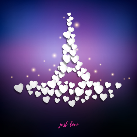 Vector abstract illustration. Hearts in the form of the Eiffel Tower on purple background. Inscription Just love. Valentines Day or wedding.