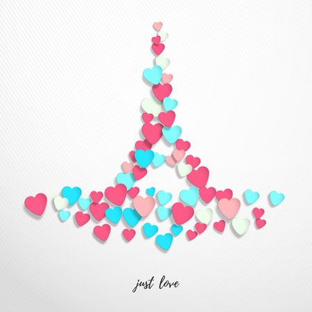 Vector abstract illustration. Inscription Just love. Multicolored hearts in the form of the Eiffel Tower. Valentines Day or wedding. Ilustrace