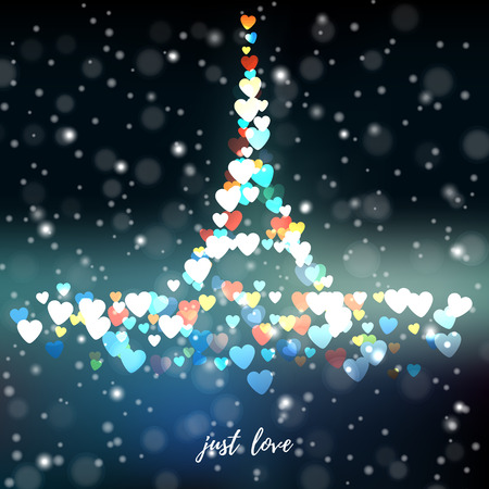 Abstract vector illustration. Hearts in the form of the Eiffel Tower. Blurred lights on dark background. Bokeh effect. Valentine's Day or wedding. Inscription Just love.
