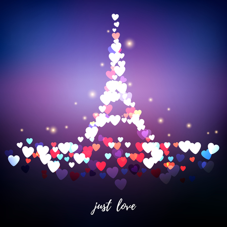 Vector abstract illustration. Blurred lights on purple background with bokeh effect. Hearts in the form of the Eiffel Tower. Valentine's Day or wedding. Inscription Just love. Reklamní fotografie - 123381339