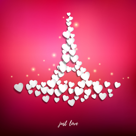 Vector abstract illustration. Inscription Just love. Hearts in the form of the Eiffel Tower on red background. Valentines Day or wedding.