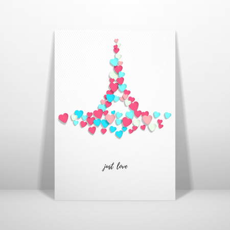 Vector card with multicolored hearts in the form of the Eiffel Tower. Valentines Day or wedding. Place for your text. Ilustrace