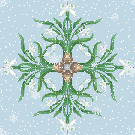 Square element of flowers of snowdrop. Vector background with snowflakes.