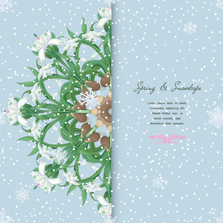 Round pattern with bouquets of snowdrop flowers. Snowflakes on backdrop. Place for your text. Illustration