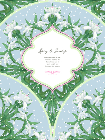 Vector card with round ornament of snowdrops and snowflakes. Frame for your text.