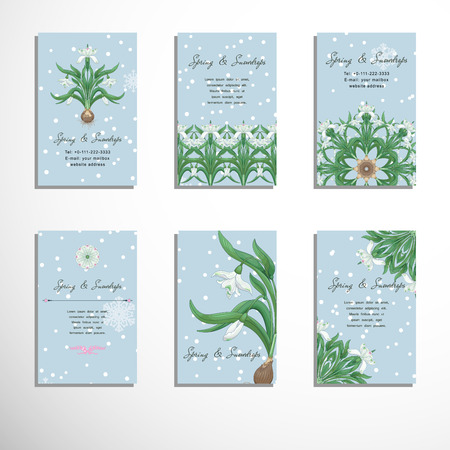 Set of six vertical business cards with snowdrop and snowflakes. Place for your text. Illustration