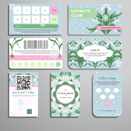 Set of loyalty cards. Pattern of snowflakes and snowdrops. Place for your text.