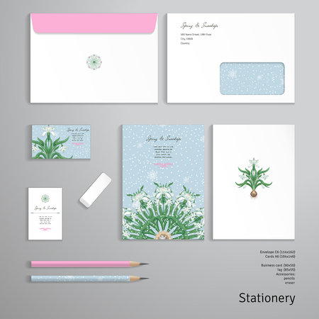 Round pattern. Bouquet of snowdrop flowers. Snowflakes on backdrop. Vector templates. Envelope, cards, business cards, tags, pencils, eraser.
