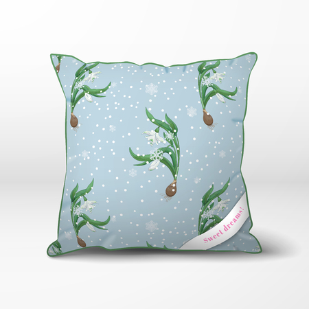 Vector pillow. Pattern with curved stems of snowdrops and snowflakes.