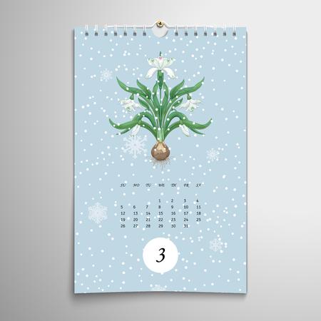 Snowdrop flowers. Snowfall on backdrop. Vector illustration. Spiral calendar. Realistic shadows. Stock Illustratie