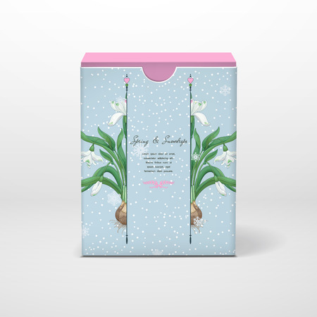 Box with place for your text. Spring snowdrops and snowflakes. Vector illustration. 일러스트