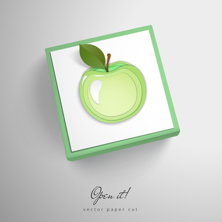Element with apple. Paper cut design. Vector cubric box. Open it. Illustration