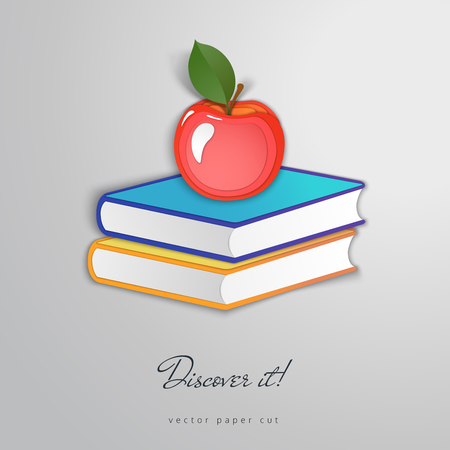 Apple on a pile of books. Paper cut design. Discover it.