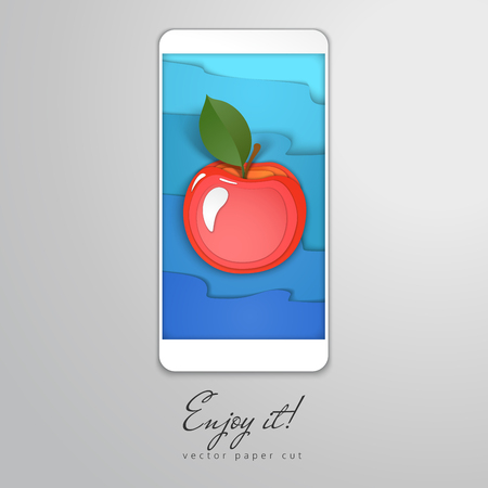 Paper cut design in the form of smartphone. Apple on the screen saver and blue waves on backdrop. Vector illustration. Enjoy it.