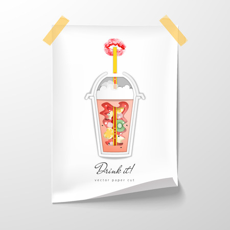 Disposable cup with juice and imprint of lipstick in the form of lips. Paper cut design. Drink it. Vector illustration. Sheet of paper tape to the wall.