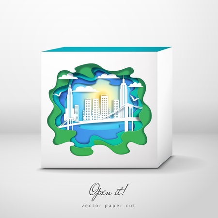 Vector box with paper cut design. New York City and silhouette of bridge and skyline. Open it.