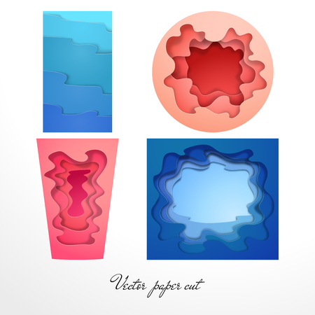 Set of four vector paper cut patterns.