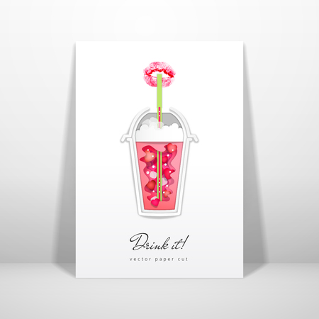 Vector card. Plastic cup with love drink. Imprint of lipstick in the form of lips. Paper cut design. Place for your text.