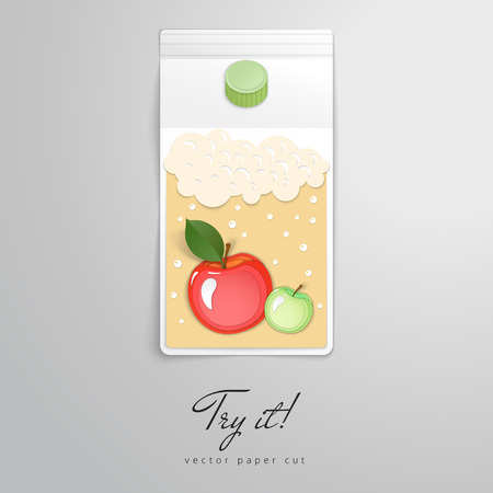 Form of cardboard box of juice with apple pattern. Vector paper cut design. Try it. Иллюстрация