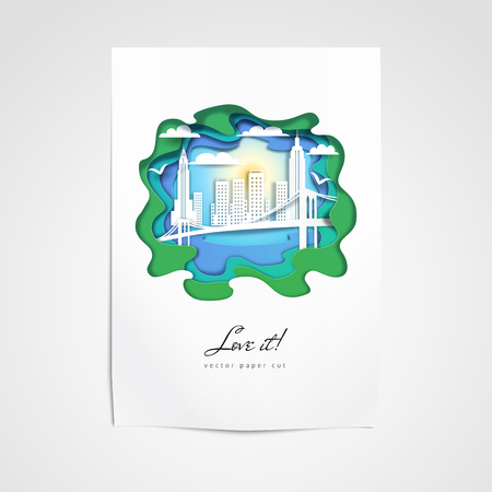 Vector template. Sheet of paper pinned to the wall. Silhouette of New York City. Paper cut design. Illustration
