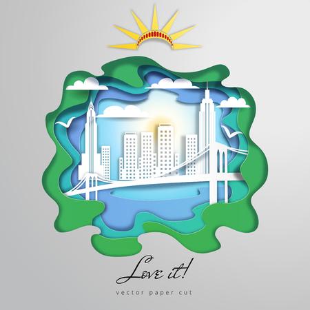 Vector paper cut design. Silhouette of New York City. Illustration