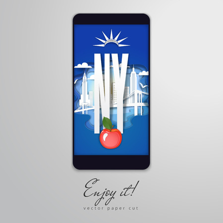 Paper cut design in the form of smartphone. Silhouette of apple and New York City. Vector illustration. Enjoy it.