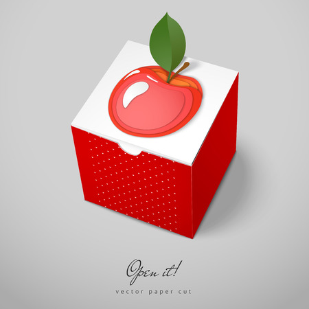 Cubic box with paper cut design. Vector pattern with apple. Open it.