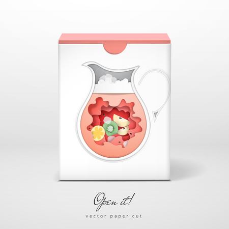 Vector box with paper cut design. Decanter of juice. Open it.