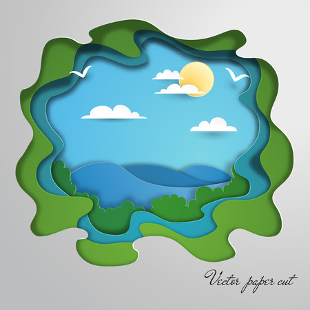 Vector paper cut design. Silhouette of pond, clouds and sun.