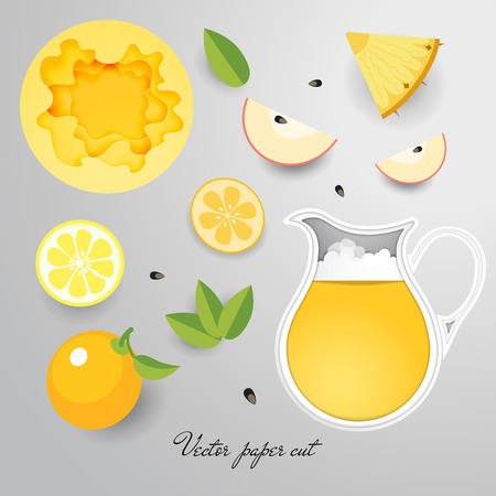 Paper cut vector design. Jug with yellow drink, fruits and mint.