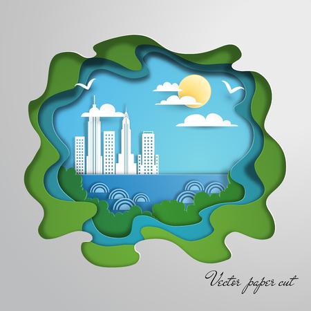 Paper cut art. Silhouette of city.