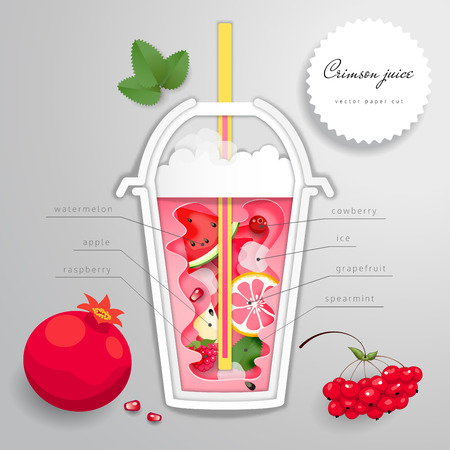 Vector paper cut art. Plastic cup with red drink. Illustration