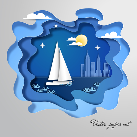 Paper art with sailboat floating on the pond at night. City on backdrop.