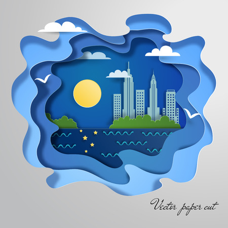 Silhouette of city at night in style of paper cut.