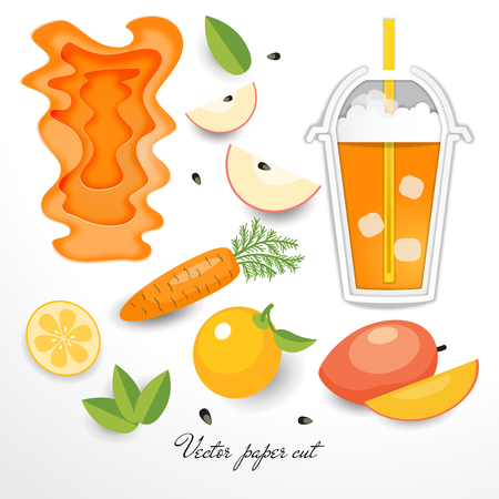 Plastic cup with a straw and a drink, fruits and vegetables. Vector set of paper cut designs.