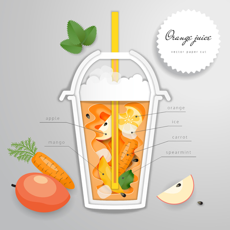 Paper cut art with plastic cup of orange drink, straw and leaves of mint. Vector illustration.