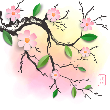 Vector design in paper cut style. Pattern with branch of sakura flowers and leaves and stain on backdrop. The inscription in Japanese style - Spring.