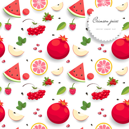 Seamless vector background with red fruits. Paper cut art.