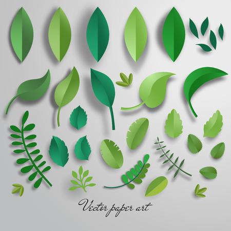 Vector set of paper cut leaves.