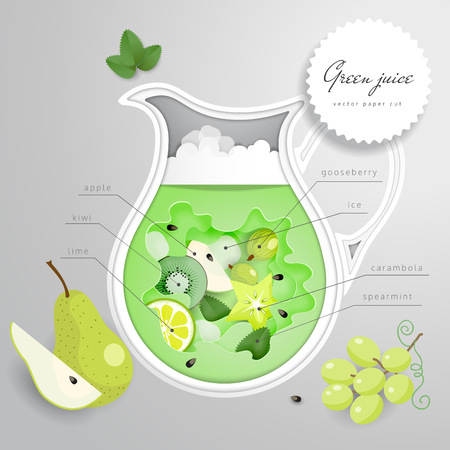 Vector illustration with paper cut design. Jug with green drink of fruits. Illustration