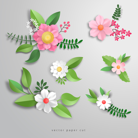 Flowers with leves in style of paper cut. Vector illustration. Ilustração