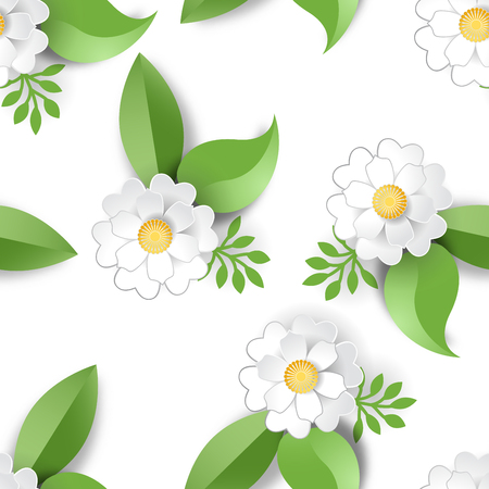 Seamless vector background with white flowers and leaves. Paper cut design. Ilustração
