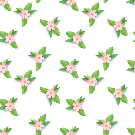 Lines of small pink flowers. Paper cut art. Vector seamless background.