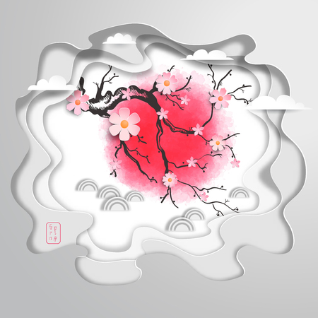 Paper cut art with multilayer pattern with cherry blossom branch and red spot on backdrop. The inscription in Japanese style - Spring.